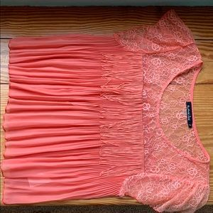 Coral sheer blouse